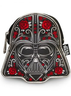 """Darth Vader Floral"" Faux Leather Coin Bag by Loungefly (Black) #inkdshop #darthvader #coinbag #leather #starwars"