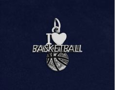 I Love Basketball Charms. Each sterling silver plated charm is approximately 3/4 inch tall by 1 inch wide. Packaged 10 charms per pack. Product Code: C-07-SPBK