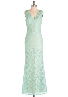 Glowing Romance Dress. A daydream come true, this mint, lace maxi dress is a radiant wear for any formal affair. #mint #prom #wedding #bridesmaid #modcloth