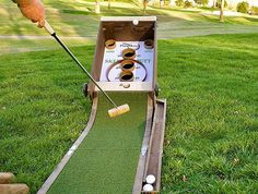 Backyard games 183662491037130958 - This fun game combines a golf putting green with arcade skeeball, allowing you to putt golf balls up into the scoring holes instead of rolling them by hand. Diy Yard Games, Diy Games, Backyard Games, Outdoor Games, Party Games, Outdoor Drinking Games, Lawn Games, Outdoor Fun, Backyard Ideas