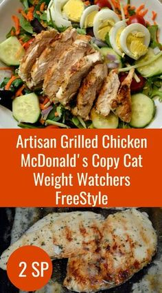 Artisan Grilled Chicken Weight Watchers Freestyle - This makes for a wonderful grilled chicken salad. The chicken comes out tender and flavorful - very similar to the fast food version, only healthier! Grilled Chicken Salad, Grilled Chicken Recipes, Grilled Meat, Chicken Meals, Ww Recipes, Whole Food Recipes, Cooking Recipes, Healthy Recipes, Cooking Stuff