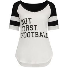 Panel Football Letter High Low T Shirt ($15) ❤ liked on Polyvore featuring tops, t-shirts, white top, letter t shirts, white t shirt, white tee and panel t shirt