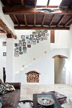Fireplace and wall
