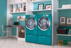 aqua electrolux washer and dryer Turquoise Laundry Rooms, Laundry Appliances, Painted Appliances, Aqua, Amazing Bathrooms, Washer And Dryer, Home Remodeling, Home Improvement, House Design