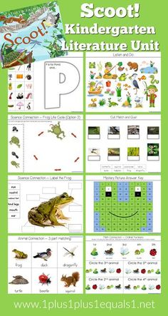 Kindergarten Literature Unit Printables, Pond Theme, based on the book SCOOT. Kindergarten Activities, Science Activities, Activities For Kids, Book Of Life, The Book, Learning Time, Early Learning, Ninja, Frog Theme