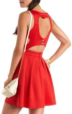 #SweetDresses: You'll look red haute in this heart cutout dress. Style it with a topknot and major wedges.