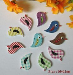 150pcs 2 Holes Mixed Birds Wooden Buttons Fit Sewing Accessories Crafts And Scrapbooking 16x21mm botoes para artesanato