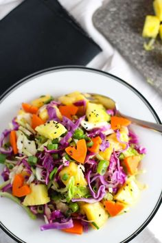 Hawaiian Coleslaw with pineapple, cabbage, carrots, sesame seeds and a ginger-soy lime vinaigrette brings a tropical taste to traditional slaw. Even though it's beautiful here in the Pacific NW right now – Can I just Hawaiian Coleslaw, Hawaiian Salad, Hawaiin Food, Best Coleslaw Recipe, Coleslaw Recipes, Hawaiian Luau Party, Hawaiian Theme, Luau Theme, Tropical Party