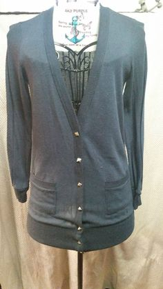 Womens Delirious Los Angeles Sweater Button Front with Pockets sz M Navy Blue #Delirious #Cardigan