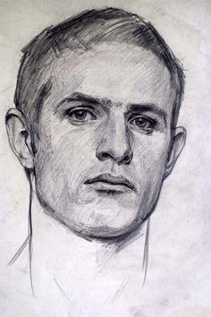'Self Portrait' Robert Hannaford, 1981. Pencil on paper.