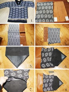 L A N A R E D S T U D I O: Upcycled Sweater Bag DIY using leather too.