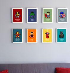 8 affiches superheros, Batman, captain america, wolverine, superman..., affiche enfant, affiche colorée, affiche ado, enfant, ado, adolescent, garçon, décoration chambre enfant, chambre garçon, bleu, turquoise, jaune, vert, orange, cadeau enfant original, cadeau enfant, cadeau garçon