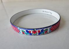 Vintage Michaela Frey Austrian Folk Enamel by WintervilleWonders Handmade Bracelets, Bangle Bracelets, Bangles, Red Flowers, Blue Bird, Folk, Enamel, Jewels, Pretty