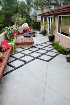 short retaining wall in the back, benches built-in, zones, firepit.  mod-iterranean » Revive Landscape Design