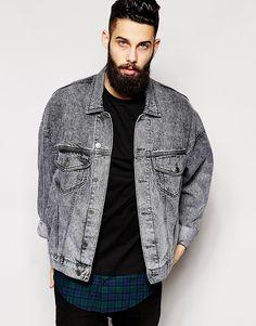 ASOS Oversized Denim Jacket With Acid Wash saved by #ShoppingIS https://www.facebook.com/shorthaircutstyles/posts/1720565254900581
