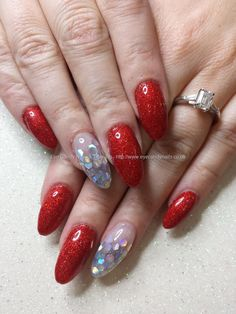 Red glitter gel polish with inlaid silver scales