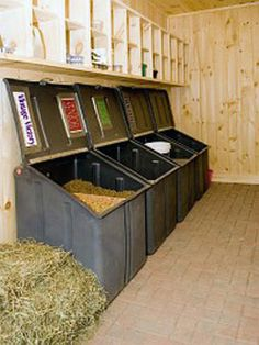 An organized feed room with supplement shelves, clean floor, pony-proof feed bins = healthy horses live here. How a feed room should look. Would have highest quality feeds for all the horses. Dream Stables, Dream Barn, Horse Stables, Horse Barns, Horses, Horse Tack Rooms, Horse Barn Plans, Goat Barn, Horse Feed