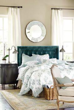 Blue velvet tufted bed