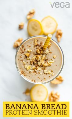 Save a trip to your local bakery or coffee shop and skip the oven with this banana bread smoothie.