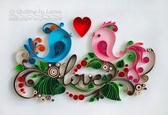 Quilling wall art Quilling art Paper quilling Love Birds Wedding Quilling heart…