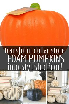 Transform Ugly Dollar Store Foam Pumpkins into Stylish Decor! Transform those plain jane dollar store foam pumpkins into stylish fall or Halloween pumpkin decor. Its so easy to make using paint or modge podge and fabric! Check out how I did it here! Dollar Tree Pumpkins, Dollar Tree Fall, Foam Pumpkins, Fabric Pumpkins, Dollar Tree Crafts, Diy Pumpkin, Pumpkin Crafts, Pumpkin Ideas, Halloween Fabric Crafts
