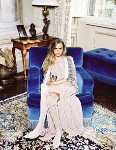 Elegant Hippie Editorials : Cara Delevingne for Vogue Spain