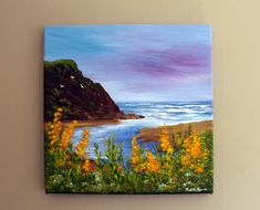 """Original Painting """"Turning of the Tide"""" x on box canvas by Judith Rowe Easy Landscape Paintings, Small Canvas Paintings, Small Canvas Art, Mini Canvas Art, Seascape Paintings, Landscapes To Paint, Mini Tela, Art Du Croquis, Arte Sketchbook"""