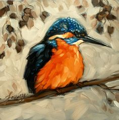 """Kingfisher painting, Original impressionistic oil painting of a Kingfiosher, 6x6"""" on panel, bird art, birds"""