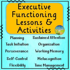 These lessons, activities, and posters teach specific executive functioning skills including: planning, organization, time management, task initiation, working memory, metacognition, self-control, sustained attention, flexibility, and perseverance. Each lesson includes a description of the skill, a pre-assessment, and activities to practice the skill. These introductory lessons can be used with students from upper elementary all the way through high school.