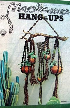 1973 Macrame Hang Ups, 1973 Macrame Patterns for Multiple Plant Hangers, Lamp Shade and Fish Bowl Holder