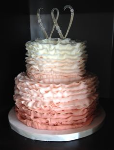 Ombre buttercream ruffles - blush pink to white // NashvilleSweets.com