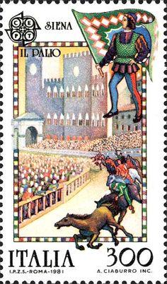 Emesso il 4 maggio 1981 300 L. - Palio di Siena