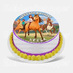 Rest assured that our spirit riding free cake topper will give you the impression of your imaginary vision. Our edible cake toppers are printed on frosting sheets and are quite easy to make use of. Horse Birthday Parties, Birthday Cake Girls, 8th Birthday, Edible Cake Toppers, Fondant Toppers, Movie Cakes, Horse Cake, Homemade Birthday Cakes, Girl Cakes