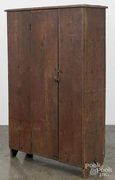 Virginia walnut canning cupboard, c., with a shelved interior and cutout feet, h. Primitive Cabinets, Primitive Furniture, Primitive Antiques, Antique Furniture, Primitive Decor, Bedroom Furniture, Primitive Bedroom, Primitive Homes, Rustic Cabinets