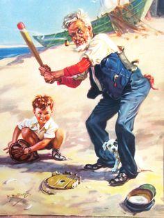 Original HY Hintermeister Calendar Sample Litho Dow Co Grandpa Boy Dog Baseball | eBay