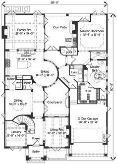 Mediterranean Style House Plan - 4 Beds 3.5 Baths 4923 Sq/Ft Plan #135-166 Main Floor Plan - Houseplans.com