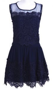 Navy Sleeveless Embroidery Pleated Lace Dress $62.9