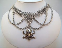 www.etsy.com/shop/eternalelfcreations  chainmaille necklace skull choker.  Day of by Eternalelfcreations, $30.00