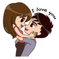 Cute, funny, lovely couple sticker for those who in love Cute Love Stories, Cute Love Pictures, Love You Images, Cute Cartoon Pictures, Cute Love Gif, Romantic Love Images, Cute Couple Drawings, Cute Love Couple, Love Cartoon Couple