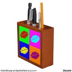 Colorful pop art lipstick kiss Pencil/Pen holder