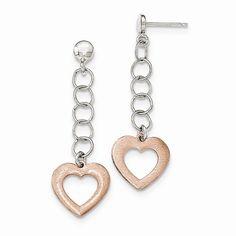 Sterling Silver Rose-tone Heart Post Dangle Earrings