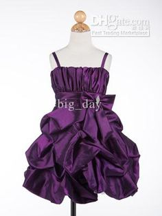 2013 Fashionable Knee-Length Spaghetti Purple Taffeta Ceremony/Flower Girl Dress 0027