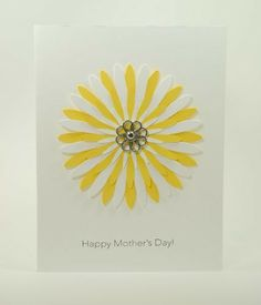 Happy #Mother's #Day #Handmade #Card With #Yellow #White #Daisy Flower | @cardsbylibe - Cards on #ArtFire