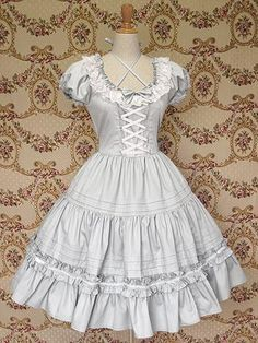 Light Blue Front Ties Collar Lace Gothic Lolita Dress