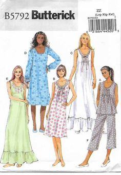 Butterick+Sewing+Pattern+5792+Misses+Size+4-14+Easy+Top+Gown+Pants+Nightgown+Pajamas