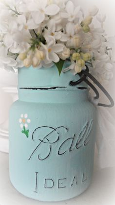 For the love of white: Painted Ball Jar Tutorial