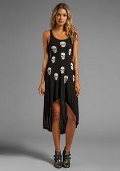LAUREN MOSHI Daria Mini Skull Face Asymmetrical Tank Dress in Black