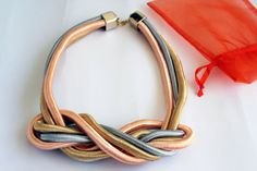 Modern necklace // Braided cord necklace // Contemporary necklace // Unique necklace // Multicolored necklace
