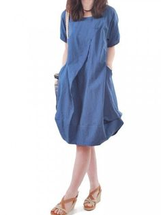 Loose Women O Neck Short Sleeve Pocket Ruffle Dress - Newchic Fashion Dress