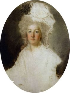 A painting of Marie Antoinette, 1791, Alexandre Kucharski, unfinished and damaged by a pike during the French Revolution.